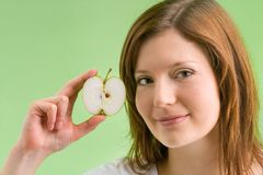 Green apple with applecore Stock Images