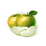 Green apple. Author's illustration in Royalty Free Stock Images