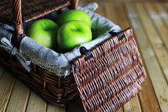 Green apple in a basket Royalty Free Stock Image