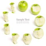 Green Apple Being eaten Series Royalty Free Stock Image