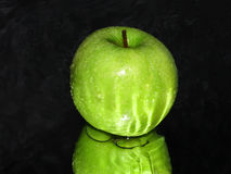 Green apple on black abstract background Stock Photography