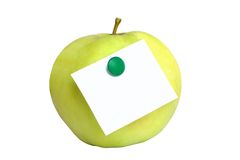 Green apple with blank. Isolated on the white background Royalty Free Stock Photo