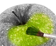 Green apple and brush. Royalty Free Stock Image