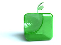 Green apple button. Illustration of square shaped green apple button isolated on white background Royalty Free Stock Images