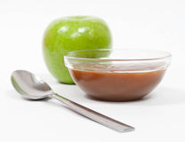 Green Apple with Caramel Stock Photography