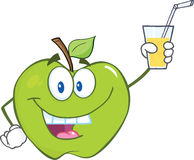 Green Apple Cartoon Character Holding A Glass With Drink Stock Photography
