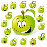 Green Apple Cartoon Characters. Collection of funny faces on green apples Royalty Free Stock Photo