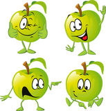 Green apple cartoon with hand Stock Images