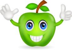 Green apple cartoon. Illustration of green apple cartoon isolated on white Stock Photography