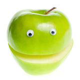Green Apple Character. Funny fruit character Green Apple on white background Royalty Free Stock Image