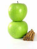 Green apple and cinnamon Royalty Free Stock Photo