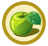 Green apple  in the circle Royalty Free Stock Images