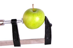 Green apple and clamp. Green Apple screwed into a clamp, isolated on white Royalty Free Stock Photo
