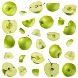 Green apple collection. Green apple parts isolated on white Stock Images