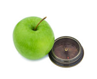 Green  apple  with  compass , isolated on white background Stock Photography