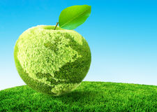 Green apple concept. A green apple concept 3D illustration Stock Photography