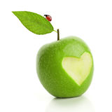 Green apple with cut heart and ladybird Stock Image