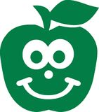 Green apple with cute face. Vector Stock Images