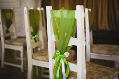 Green apple decor on wedding chair Stock Photo