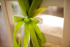 Green apple decor on wedding chair stock images