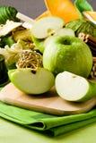 Green Apple Dessert on Cutting board Stock Photo