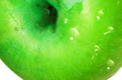 Green apple detail. With droplet Royalty Free Stock Photos