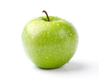 Green Apple with Dewdrops. Fresh Green Apple with Dewdrops  on White Background Stock Photography
