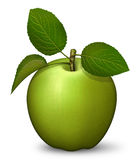 Green Apple. Digital illustration of a green apple with stem and leaves Royalty Free Stock Image