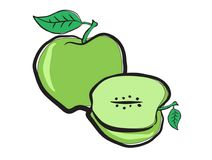 Green apple  in doodle style Stock Image