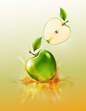 Green apple drop on juice splash and ripple, Realistic Fruit and yogurt, transparent, vector illustration vector illustration