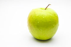 Green apple. With drop of water Stock Photo