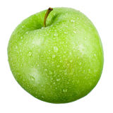 Green apple with drops isolated on white Stock Photography
