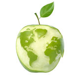 Green apple earth. Green apple with world map, isolated with clipping path stock images