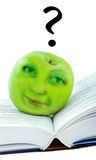 Green apple with face Royalty Free Stock Photos