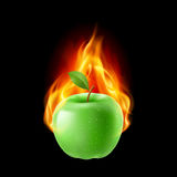 Green apple in the fire. Illustration on black background for design Royalty Free Stock Photo