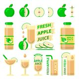 Green apple and fresh juice flat vector elements royalty free illustration