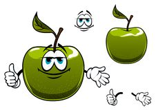 Green apple fruit cartoon character with thumb up Royalty Free Stock Photography