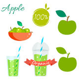 Green apple fruit and juice vector set. Green apple fruit and juice cup to go vector set. Apple fruit with leaf in bowl. Apple logo. Apple juice or jam branding Stock Photos