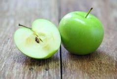 Green apple fruit on wood Royalty Free Stock Photo