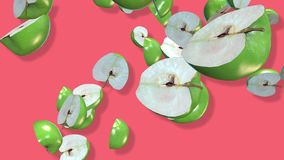 Green apple fruits 3D, tow video transitions isolated - footage 4K