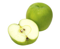 Green apple fruits isolated on white background.  Stock Image