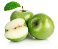 Green apple fruits with leaf Royalty Free Stock Photography