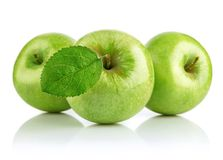 Green apple fruits with leaf Stock Photo