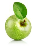 Green apple fruits with leaf Royalty Free Stock Photo