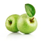 Green apple fruits with leaf Stock Photos