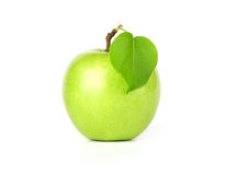 Green apple fruits with leaf Royalty Free Stock Images