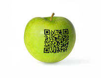 Green apple and GR code Royalty Free Stock Photography