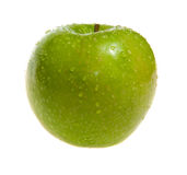 Green apple Granny Smith covered water drops Stock Image