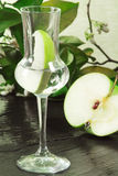 Green apple grappa with apple slice Royalty Free Stock Photography