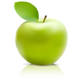Green Apple with green leaf. Realistick Vector Royalty Free Stock Images